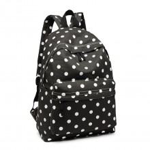 E1401D2 - Miss Lulu Large Backpack Polka Dot Black